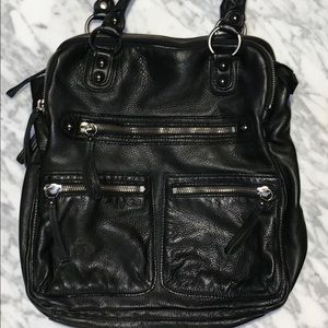 Linea Pelle Dylan Tote Bag Graphite Silver Great!